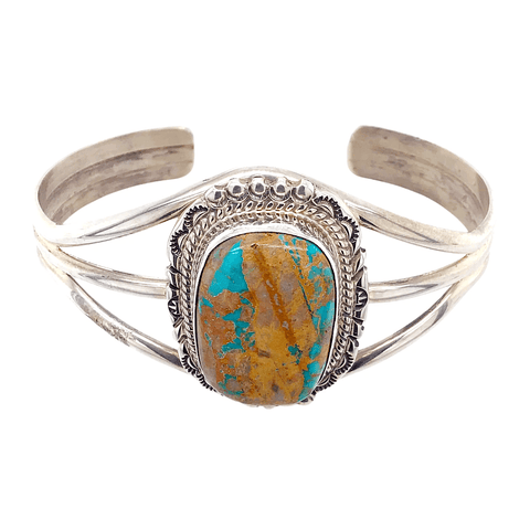 Image of Native American Bracelet - Navajo Regal Matrix Turquoise Bracelet
