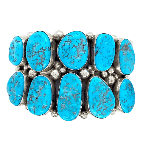 Native American Bracelet - Navajo Rough Sleeping Beauty Turquoise Cuff Bracelet - Mary Ann Spencer