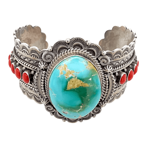 Image of Native American Bracelet - Navajo Royston Turquoise And Coral Stamped Bracelet - Michael Calladitto
