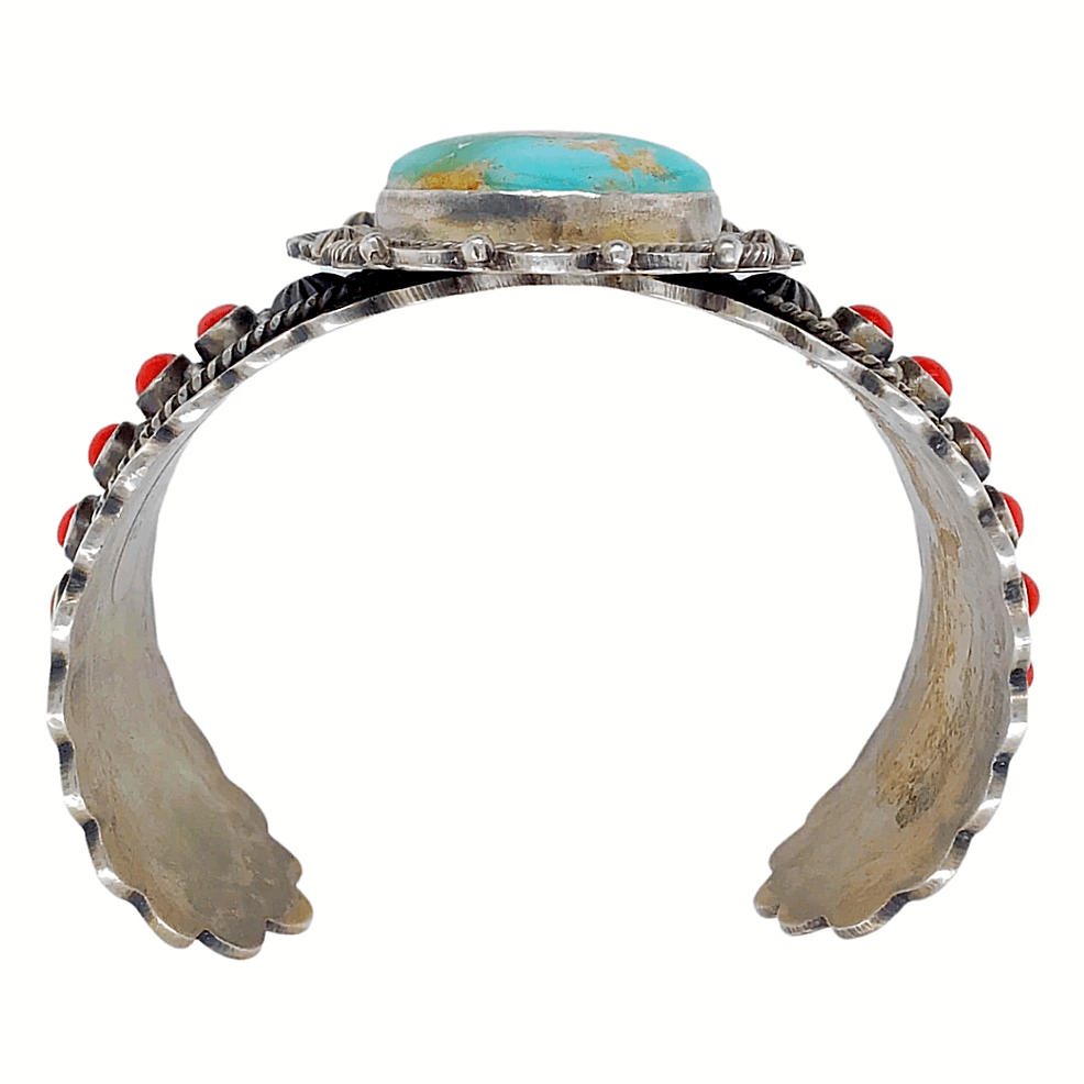 Native American Bracelet - Navajo Royston Turquoise And Coral Stamped Bracelet - Michael Calladitto