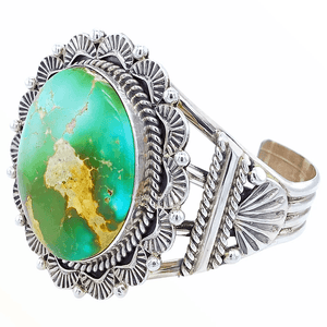 Native American Bracelet - Navajo Royston Turquoise Bracelet With Embellished Silver Setting - Mary Ann Spencer