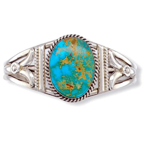 Image of Native American Bracelet - Navajo Royston Turquoise Bracelet With Silver Twist Wire - Spencer