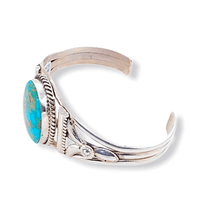 Native American Bracelet - Navajo Royston Turquoise Bracelet With Silver Twist Wire - Spencer