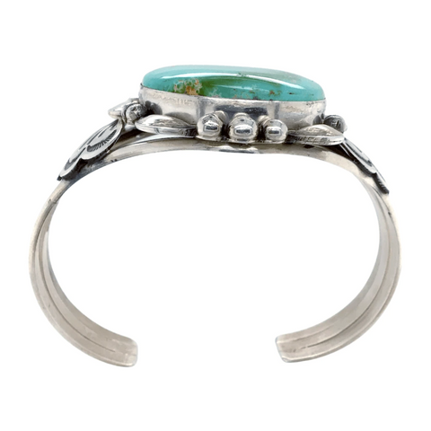 Image of Native American Bracelet - Navajo Royston Turquoise Embellished Sterling Bracelet - Mary Ann Spencer