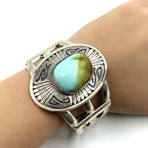 Native American Bracelet - Navajo Royston Turquoise Engraved Sterling Silver Bracelet - Native American
