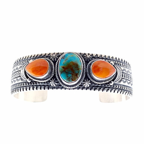 Image of Native American Bracelet - Navajo Royston Turquoise & Spiny Oyster Triple Stone Stamped Sterling Silver Cuff Bracelet - June Defarito - Native American