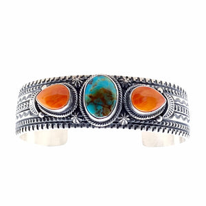 Native American Bracelet - Navajo Royston Turquoise & Spiny Oyster Triple Stone Stamped Sterling Silver Cuff Bracelet - June Defarito - Native American