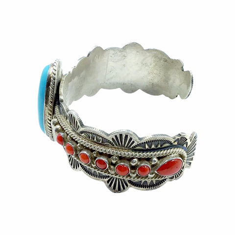 Native American Bracelet - Navajo Sleeping Beauty Turquoise Cabochon & Red Coral Stamped Sterling Silver Cuff Bracelet - Mike Calladitto - Native American