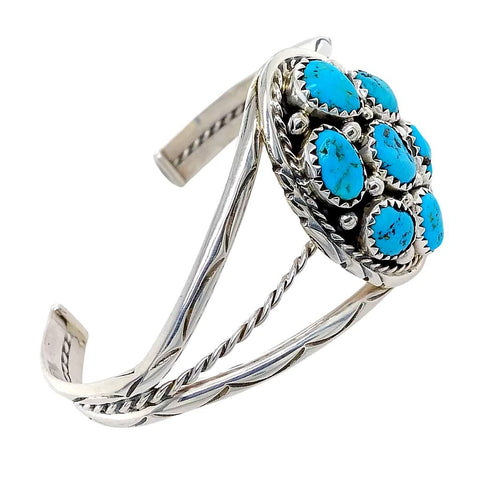 Native American Bracelet - Navajo Sleeping Beauty Turquoise Cluster Sterling Silver Cuff Bracelet - Melvin Chee