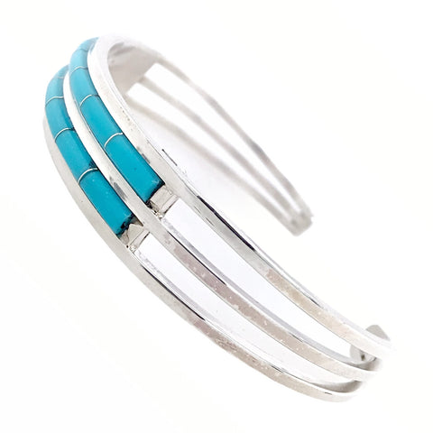 Native American Bracelet - Navajo Sleeping Beauty Turquoise Double Row Inlay Sterling Silver Cuff Bracelet - Ansom Wallace - Native American
