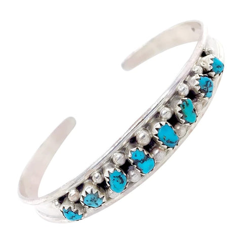 Image of Native American Bracelet - Navajo Sleeping Beauty Turquoise Row Sterling Silver Cuff Bracelet - Elton Cadman