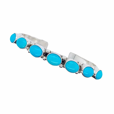 Native American Bracelet - Navajo Sleeping Beauty Turquoise Row Sterling Silver Cuff Bracelet - Native American