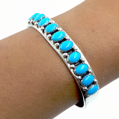 Native American Bracelet - Navajo Sleeping Beauty Turquoise Row Sterling Silver Cuff Bracelet - Paul Livingston - Native American