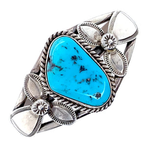 Native American Bracelet - Navajo Sleeping Beauty Turquoise Sterling Silver Bracelet - Mary Ann Spencer