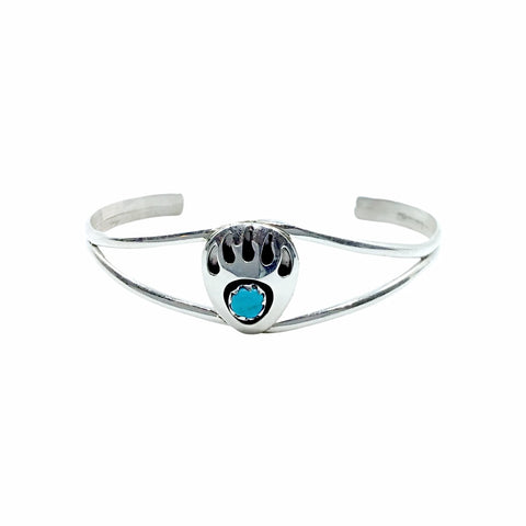 Native American Bracelet - Navajo Small Children's Bear Paw Shadow-Box Turquoise Sterling Silver Cuff Bracelet - Native American