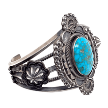 Load image into Gallery viewer, Native American Bracelet - Navajo Spider Web Turquoise Embellished Silver Bracelet - Pawn