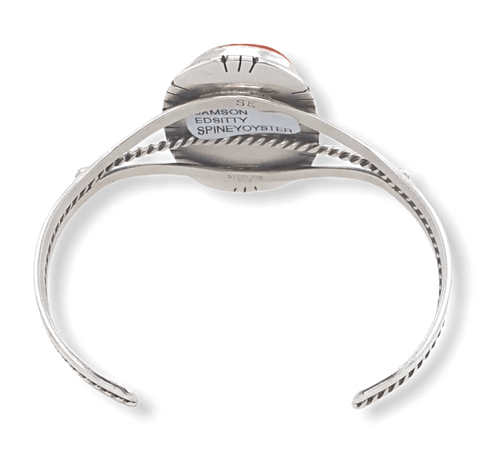 Image of Native American Bracelet - Navajo Spiny Oyster Bracelet With Silver Twist Embellishment - Samson Edsitty
