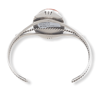 Native American Bracelet - Navajo Spiny Oyster Bracelet With Silver Twist Embellishment - Samson Edsitty