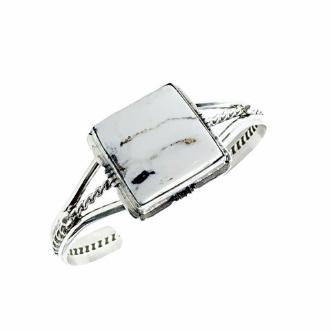 Image of Native American Bracelet - Navajo Square White Buffalo Stone Twist-Wire Sterling Silver Bracelet - Samson Edsitty - Native American