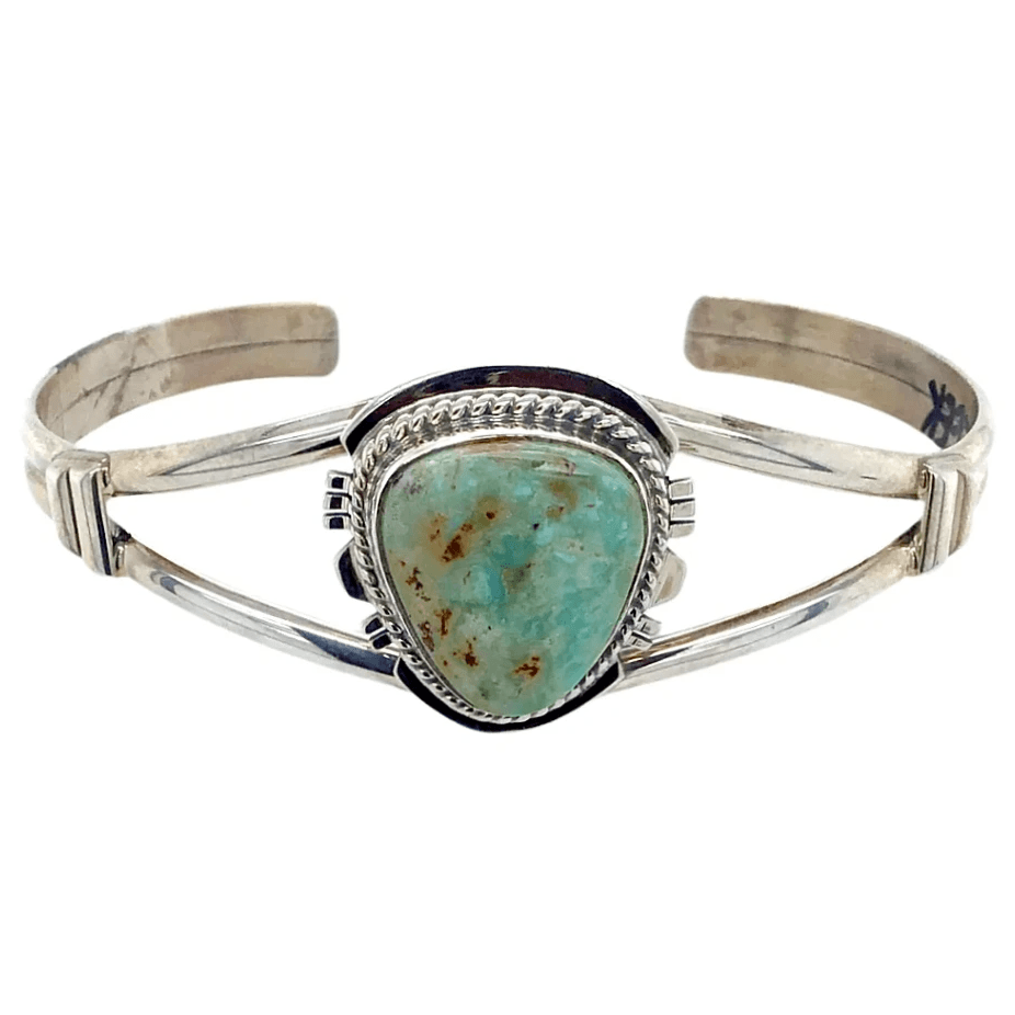 Native American Bracelet - Navajo Sterling Silver And Dry Creek Turquoise Bracelet - Larson L. Lee