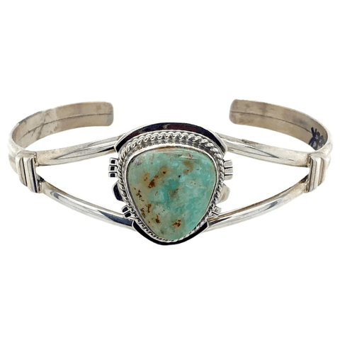 Image of Native American Bracelet - Navajo Sterling Silver And Dry Creek Turquoise Bracelet - Larson L. Lee