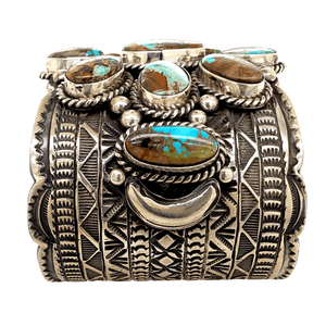 Native American Bracelet - Navajo  Sterling Silver And Royston Turquoise Cuff Bracelet