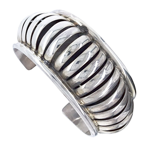 Image of Native American Bracelet - Navajo Sterling Silver Cuff Bracelet - Native American
