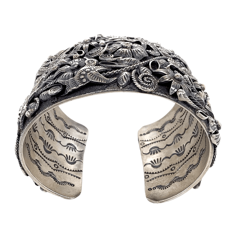 Image of Native American Bracelet - Navajo Sterling Silver Flowers And Hummingbirds Cuff Bracelet - Larry Martinez Chavez