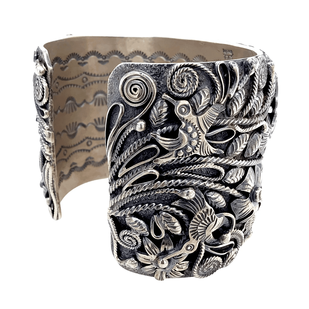 Native American Bracelet - Navajo Sterling Silver Flowers And Hummingbirds Cuff Bracelet - Larry Martinez Chavez
