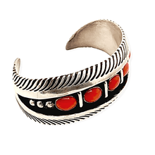 Load image into Gallery viewer, Native American Bracelet - Navajo Tapered Cuff Bracelet With Coral - L. James