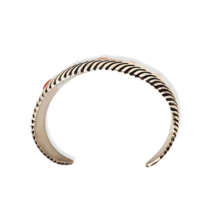 Native American Bracelet - Navajo Tapered Cuff Bracelet With Coral - L. James