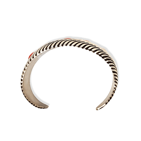 Image of Native American Bracelet - Navajo Tapered Cuff Bracelet With Coral - L. James