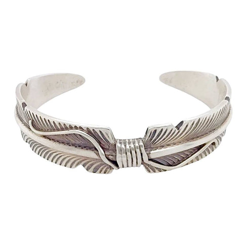 Native American Bracelet - Navajo Tapered Feather Oxidized Heavy Gauge Sterling Silver Cuff Bracelet - Chris Charley