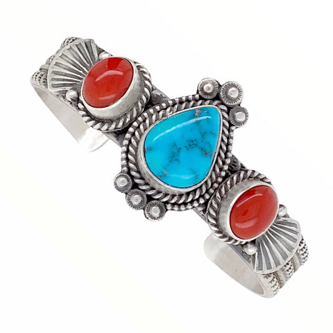 Image of Native American Bracelet - Navajo Teardrop Kingman Turquoise & Red Coral Stamped Sterling Silver Cuff Bracelet - Mike Calladitto - Native American
