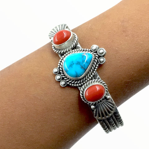 Native American Bracelet - Navajo Teardrop Kingman Turquoise & Red Coral Stamped Sterling Silver Cuff Bracelet - Mike Calladitto - Native American