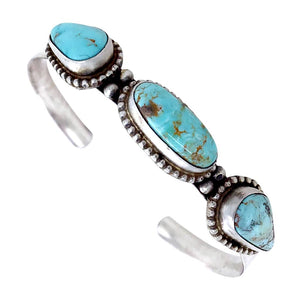 Native American Bracelet - Navajo Thin Band Dry Creek Turquoise Row Sterling Silver Cuff Bracelet - Bobby Johnson - Native American