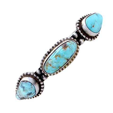 Image of Native American Bracelet - Navajo Thin Band Dry Creek Turquoise Row Sterling Silver Cuff Bracelet - Bobby Johnson - Native American