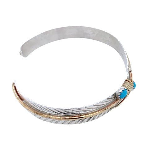 Native American Bracelet - Navajo Thin Feather 12k Gold Fill & Sterling Silver Bracelet - Melvin Vandever - Native American