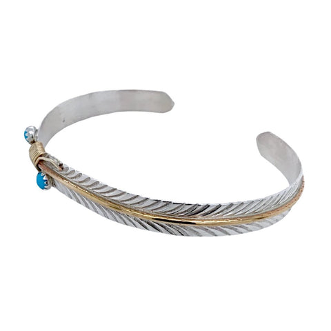 Image of Native American Bracelet - Navajo Thin Feather 12k Gold Fill & Sterling Silver Bracelet - Melvin Vandever - Native American