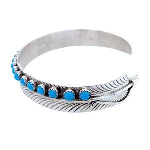 Native American Bracelet - Navajo Thin Feather Turquoise Row Sterling Silver Bracelet - Native American