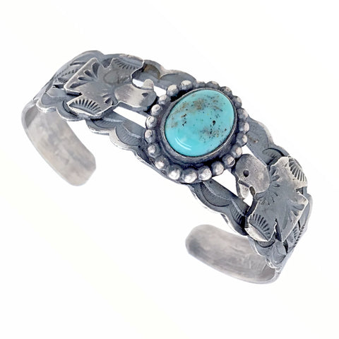 Native American Bracelet - Navajo Thunderbird Turquoise Sterling Silver Stamped Cuff Bracelet - Native American