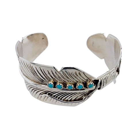 Native American Bracelet - Navajo Turquoise Feather Sterling Silver Cuff Bracelet - Aaron Davis - Native American