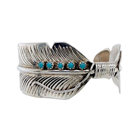 Image of Native American Bracelet - Navajo Turquoise Feather Sterling Silver Cuff Bracelet - Aaron Davis - Native American