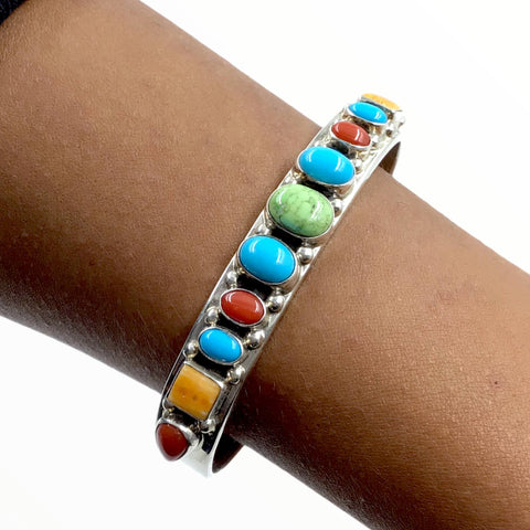 Native American Bracelet - Navajo Turquoise, Gaspeite, Coral & Spiny Oyster Multi-stone Sterling Silver Cuff Bracelet - Bobby Johnson - Native American