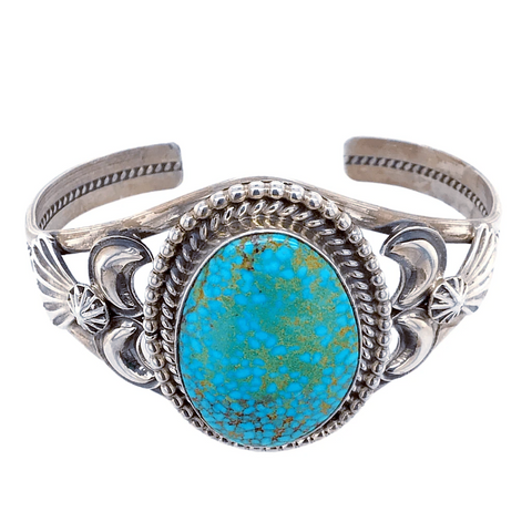 Image of Native American Bracelet - Navajo Turquoise Mountain Spider Web Sterling Silver Bracelet - Mary Ann Spencer