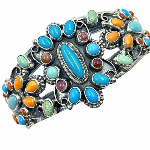 Native American Bracelet - Navajo Turquoise & Spiny Oyster Multi-stone Cluster Stamped Sterling Silver Cuff Bracelet - Bobby Johnson - Native American