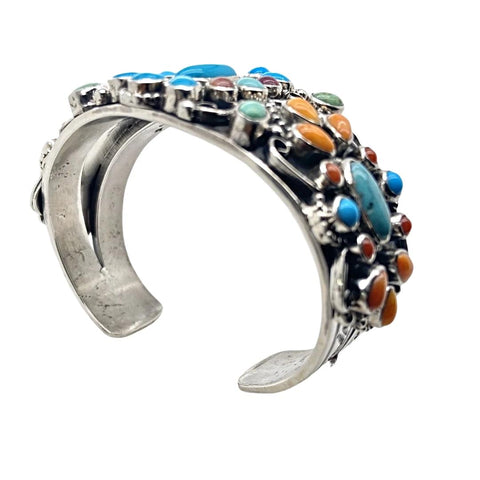 Image of Native American Bracelet - Navajo Turquoise & Spiny Oyster Multi-stone Cluster Stamped Sterling Silver Cuff Bracelet - Bobby Johnson - Native American