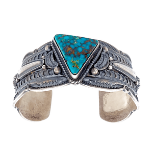 Native American Bracelet - Navajo Turquoise Triangle Embellished Silver Cuff Bracelet - Pawn