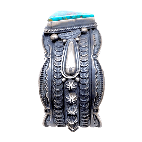 Image of Native American Bracelet - Navajo Turquoise Triangle Embellished Silver Cuff Bracelet - Pawn