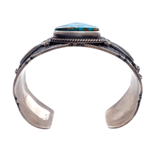 Load image into Gallery viewer, Native American Bracelet - Navajo Turquoise Triangle Embellished Silver Cuff Bracelet - Pawn